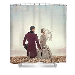 Victorian Couple Standing In A Meadow Shower Curtain by Lee Avison