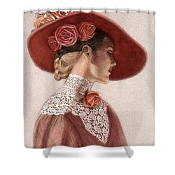 Victorian Lady In A Rose Hat Shower Curtain