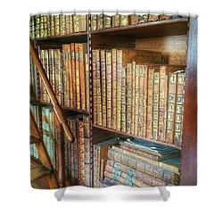 Victorian Library Shower Curtain by Isabella F Abbie Shores FRSA