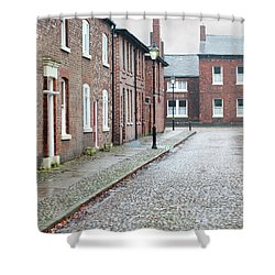 Victorian Terraced Street Of Working Class Red Brick Houses Shower Curtain by Lee Avison