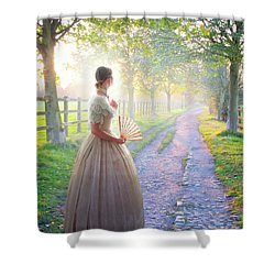 Victorian Woman On A Rural Path At Sunset Shower Curtain by Lee Avison