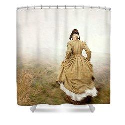 Victorian Woman Running On The Misty Moors Shower Curtain