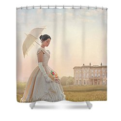 Victorian Woman With Parasol And Fan Shower Curtain by Lee Avison