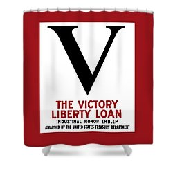 Shower Curtain featuring the mixed media Victory Liberty Loan Industrial Honor Emblem by War Is Hell Store