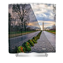 Vietnam War Memorial, Washington, Dc, Usa Shower Curtain by Sam Antonio Photography