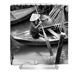 Vietnamese Woman Boat Ores Really For Tourist Mekong Delta  Shower Curtain