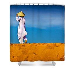 Vietnamese Woman In The Red Sand Dunes Mui Ne Vietnam Shower Curtain