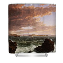 View Across Frenchman's Bay From Mt. Desert Island After A Squall Shower Curtain by Thomas Cole