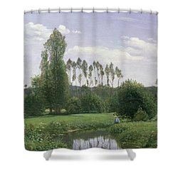 View At Rouelles Shower Curtain by Claude Monet