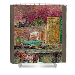 Shower Curtain featuring the painting View From A Balcony by Mary Wolf
