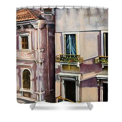 Shower Curtain featuring the painting View From A Venetian Window by Marlene Book