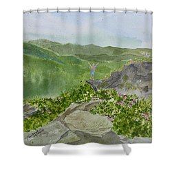 View From Craggy Gardens - A Watercolor Sketch  Shower Curtain
