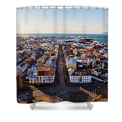 View From Hallgrimskirka Shower Curtain by Wade Courtney