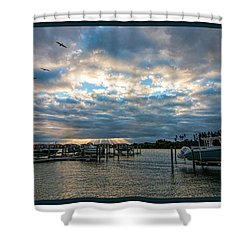 View From Marina Bay Shower Curtain by Dorothy Cunningham
