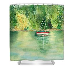 Shower Curtain featuring the painting View From Millbay Ferry by Vicki  Housel