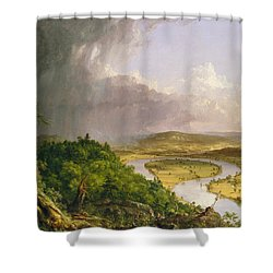 Shower Curtain featuring the painting View From Mount Holyoke Northampton Massachusetts After A Thunderstorm. The Oxbow by Thomas Cole