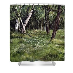 Shower Curtain featuring the painting View From My Studio by Laurie Rohner