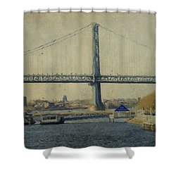 View From The Battleship Shower Curtain by Trish Tritz