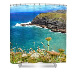 View From The Cliffs At Tintagel  Shower Curtain by Claire Whatley