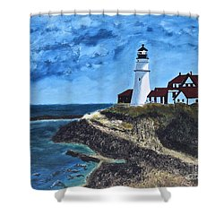 View From The North Portland Head Light Shower Curtain