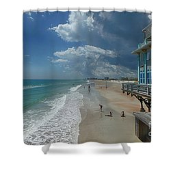 View From The Pier Shower Curtain by Judy Hall-Folde