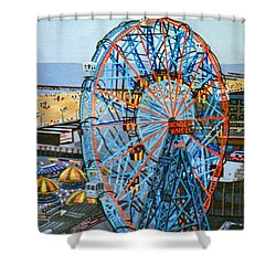 View From The Top Of The Cyclone Rollercoaster Shower Curtain
