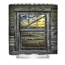 View From Weathered Beach Cottage Shower Curtain by Walt Foegelle