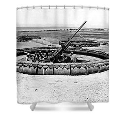 View Of A 90mm Aaa Gun Emplacement Shower Curtain by Stocktrek Images