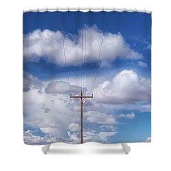 View Of A Phone Pole Shower Curtain by Gary Warnimont