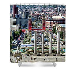 Shower Curtain featuring the photograph View Of Barcelona From Montjuic by Eduardo Jose Accorinti
