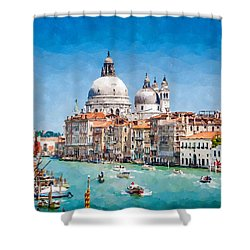 Shower Curtain featuring the digital art View Of Canal Grande by Kai Saarto