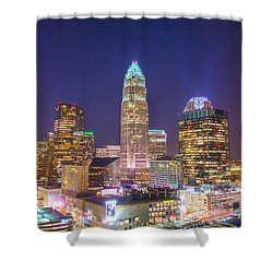 View Of Charlotte Skyline Aerial At Sunset Shower Curtain