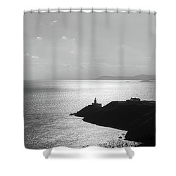 Shower Curtain featuring the photograph View Of Howth Head With The Baily Lighthouse In Black And White by Semmick Photo