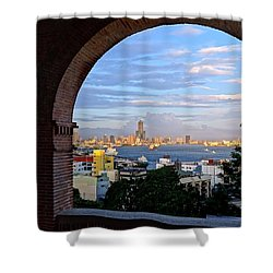 Shower Curtain featuring the photograph View Of Kaohsiung City At Sunset Time by Yali Shi