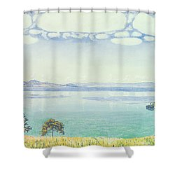 View Of Lake Leman From Chexbres Shower Curtain by Ferdinand Hodler