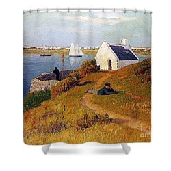 View Of Lorient In Brittany Shower Curtain by Henry Moret