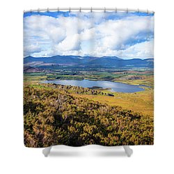Shower Curtain featuring the photograph View Of Lough Acoose In Ballycullane From The Foothill Of Macgil by Semmick Photo