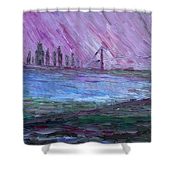 Shower Curtain featuring the painting View On Manhattan by Vadim Levin