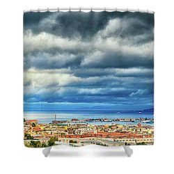 Shower Curtain featuring the photograph View Of Messina Strait Sicily With Dramatic Sky by Silvia Ganora