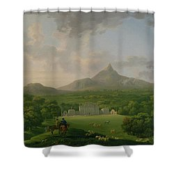 View Of Powerscourt - County Wicklow Shower Curtain by George the Elder Barret