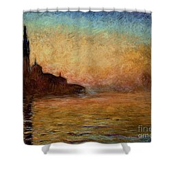 View Of San Giorgio Maggiore Venice By Twilight Shower Curtain by Claude Monet