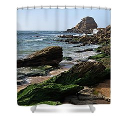 View Of Santa Rita Beach In Torres Vedras Shower Curtain