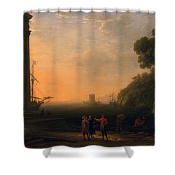 View Of Seaport Shower Curtain by Claude Lorrain
