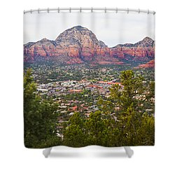 Shower Curtain featuring the photograph View Of Sedona From The Airport Mesa by Chris Dutton