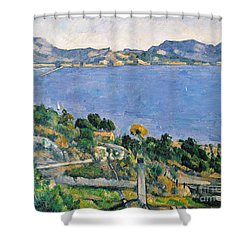 View Of The Bay Of Marseilles Shower Curtain by Paul Cezanne