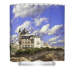 View Of The Beautiful Castle On The Bay Of Biscay Of The Atlantic Ocean Shower Curtain