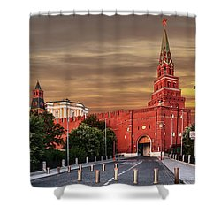 View Of The Borovitskaya Tower Of The Moscow Kremlin Shower Curtain