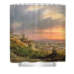 View Of The Butte Montmartre Shower Curtain by Louis Jacques Mande Daguerre