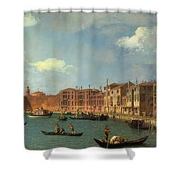 View Of The Canal Of Santa Chiara Shower Curtain by Canaletto
