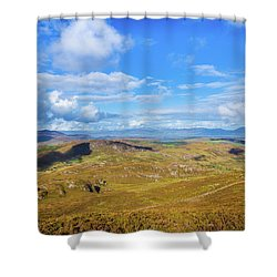 Shower Curtain featuring the photograph View Of The Mountains And Valleys In Ballycullane In Kerry Irela by Semmick Photo